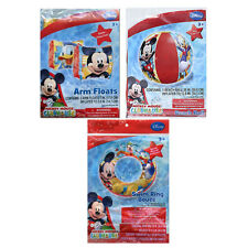 Disney Mickey Mouse Kids Swimming Ring Tube + Arm Floats + Pool Beach Ball 3+