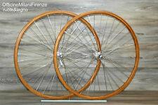 RUOTE COMPLETE CON CERCHI IN LEGNO  restauro vintage corsa campagnolo eroica