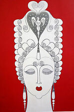 Erte 1982 - AMOROSA - Lady with Red Lips ANGEL Headdress Art Deco Print Matted