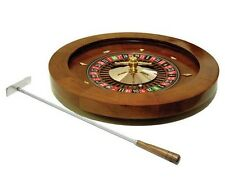 "16"" Deluxe Wooden Roulette Spinning Wheel Game With Metal Rake New"