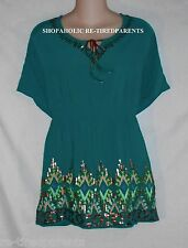 TATTOO ME – TOP – TURQUOISE TEAL - SEQUINS & EMBROIDERY – PLUS SIZE 3X - NEW $54