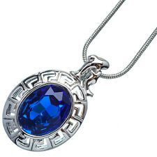 4.76 Ct Oval Cut Blue Sapphire 18K White Gold Plated 12 Horoscope Pisces Pendant