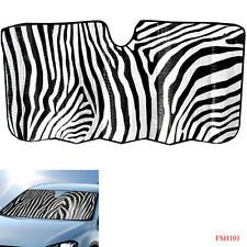 New Safari White Zebra Print Car Truck Windshield Folding Front Window Sun Shade