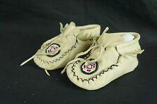 "Native American Beaded Baby Handmade Moccasins Soft Soled 5.5"" [Y8-W6-A9-E9]"