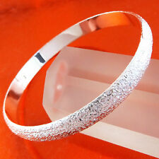 A396 GENUINE REAL 925 STERLING SILVER SF SOLID DIAMOND DUST CUFF BANGLE BRACELET