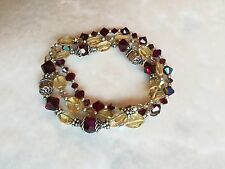 Sterling Silver Citrine, Deep Ruby Red Swarovski crystal bracelet set of 3, NWOT