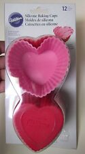 WILTON SILICONE BAKING CUPS PINK RED HEARTS 12 COUNT CUPCAKE FORMS IN PACKAGE