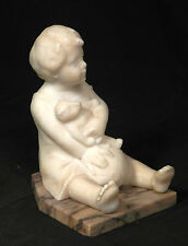 Vintage Carved Genuine marble Alabaster Statue Boy Teddy Bear Child Schumacher