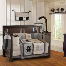 10 Piece Teddy Bear Boys Brown Blue Baby Crib Bedding (include musical MOBILE)