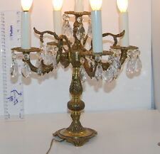 """Vintage Ornate Candelabra Brass Lamp 5 Arm Great Detail Candle 15"""" Tall Crystal"""