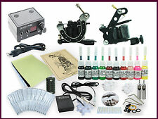 Complete Tattoo Kit 2 Machine Guns Equipment Power Supply 10 Ink Colors TK-56