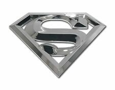 SUPERMAN 3D SILVER CHROME METAL AUTO EMBLEM car truck decal badge DC Comics
