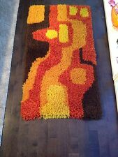 Mid Century Modern Vintage Shag Rug Carpet Danish Retro Orange Sclupture Wool