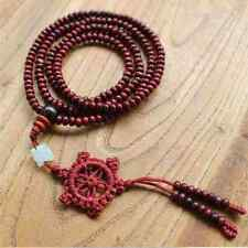 216 Wooden Mala Dharma Chakra Rosary Meditation Buddha Bracelet Necklace & Pouch