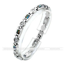 Stainless Steel Abalone Shell Energy Therapy Germanium Magnetic Crystal Bracelet