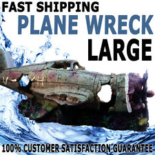 Aqua Aquarium Fish Tank Resin Ornament Aritificial Plane Wreck Large Decoration