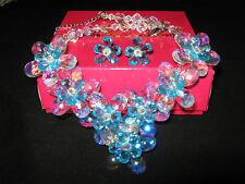 butler & wilson necklace & earrings blue flowers new with box statement