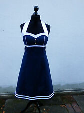 Pinup Rockabilly 50er Jahre Marine Sailor A-Linie Neckholder Coktail Kleid Dress