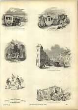 Old Engravings Carriages Coaches Sedan King John Hackney Cab Wheelwright