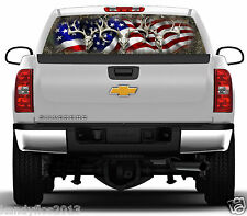 Buck Skull Flag Forest Camo #01 Rear Window Graphic Tint Truck Stickers Decals