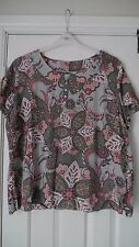 WOMENS BEING CASUAL COTTON ABSTRACT PRINT BLOUSE/TOP SIZE 22 SHORT SLEEVE VGC
