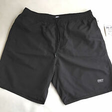 Obey Men's Nylon Shorts Isle of Youth Jet Black Size L NWT Shepard Fairey