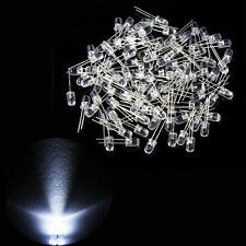 Lot of 100pcs 5mm Round LED Super Bright Bulb Light Electronics 20000 MCD Weiß