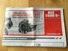 Transformers Animated OPTIMUS PRIME instructions book manual