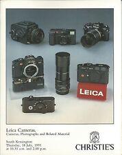 CHRISTIE'S LEICA CAMERAS Auction Catalog 1991