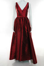 ML Monique Lhuillier Red V Neck Pomegranate Gown Size 0 New $898 10194274
