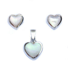 Fresh Water Pearl Heart .925 Sterling Silver Earring & Pendant Jewelry set