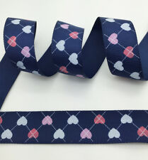 "Hot~5 yds 1"" 25mm Blue Printed LOVE Grosgrain Ribbon Hair Bow DIY Sewing #A29"