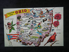 Vintage Wilbur Evans Map Postcard Greetings from Ohio, Buckeye State, Flag, Bird