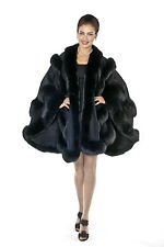Black Plus Size Fox Trimmed Cashmere Cape for Women - Empress Style