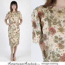 Vintage 50s Gold Brocade Dress Beaded Wedding Cocktail Party Floral Wiggle Mini