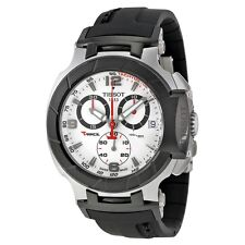 T0484172703700 Tissot Mens T-Race Quartz White Dial Black Rubber Strap Watch
