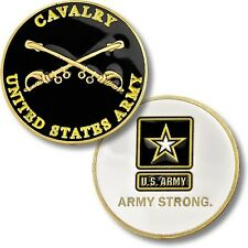 Cavalry Army Strong Challenge Coin Crossed Sabers Seal Star Logo Active Vet US