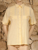 VINTAGE 70s 'NANETTE' PLEATED SHIRT  - UK 12 small 14 - NEW - (Z)
