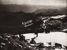 1922 Vintage SPAIN Pyrenees Aneto Men Ice Snow Mountain Landscape Art HIELSCHER
