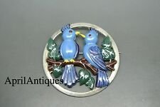 Vintage Norseland by Coro Sterling signed blue enamel parrot bird Brooch