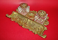 Virginia MetalCrafters Roccoco Revival Brass Inkstand Double Covered Glass Wells