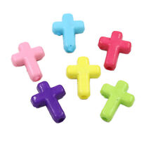 100pcs Bulk Mixed Colour Plastic Cross Charms Spacer Beads Fit Jewelry Making C