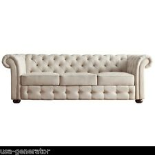"""Linen Sofa Beige Chesterfield Tufted Rolled Arm Couch Living Room 91"""" Office NEW"""