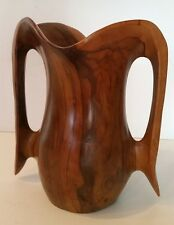 "OLIVE WOOD VASE - Falcon - Made in Spain - 8"" Hand Carved - SOLID - Art Deco"