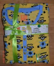 Despicable Me MINIONS Women's Pajama PJ 2 Piece Set Waffle Fleece L 12-14 - NWT