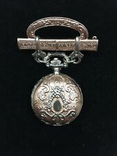 Stunning Victorian Style 1928 Silver & Rose Gold Tone Chatelaine Pin Watch