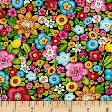 Mary Engelbreit Mottos to Live By Floral Black/Multi Cotton Fabric BTY