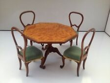 MASTERS INLAID DINING TABLE AND BALLOON BACK CHAIRS DOLLS HOUSE FURNITURE SET