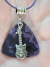 "GUITAR Pick Necklace Purple BIG PIC &  Silver Musical Note & Guitar 17.5"" to 19"""