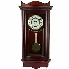 """Bedford Clock Collection Weathered Cherry Wood 25"""" Wall Pendulum Clock Chimes"""